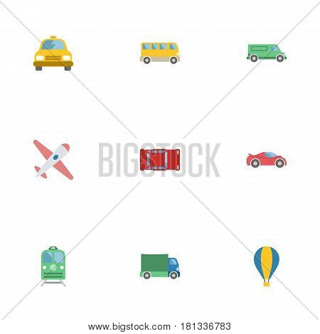 Flat Omnibus, Carriage, Automotive And Other Vector Elements. Set Of Vehicle Flat Symbols Also Includes Train, Auto, Carriage Objects.