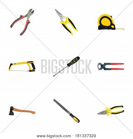 Realistic Carpenter, Pliers, Scissors And Other Vector Elements. Set Of Construction Realistic Symbols Also Includes Arm, Carpenter, Tool Objects.