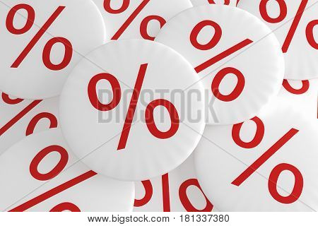 Shop Bargain Special Offer Badges: Pile of Percent Buttons 3d illustration