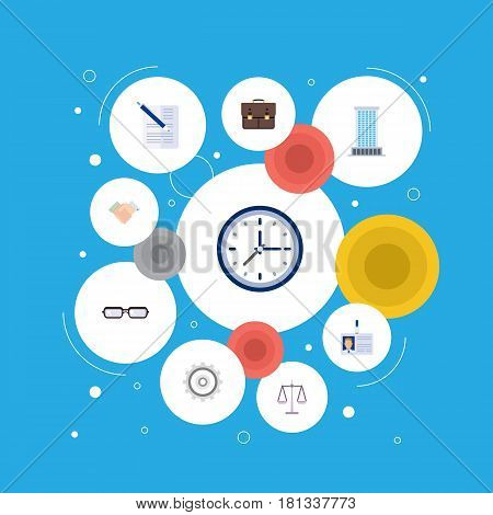 Flat Libra, Clock, Portfolio And Other Vector Elements. Set Of Business Flat Symbols Also Includes Time, Watch, Deal Objects.