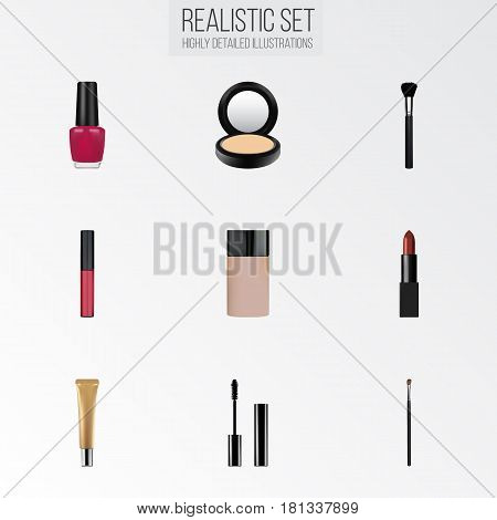 Realistic Concealer, Pomade, Eyelashes Ink And Other Vector Elements. Set Of Greasepaint Realistic Symbols Also Includes Cream, Brow, Cosmetic Objects.