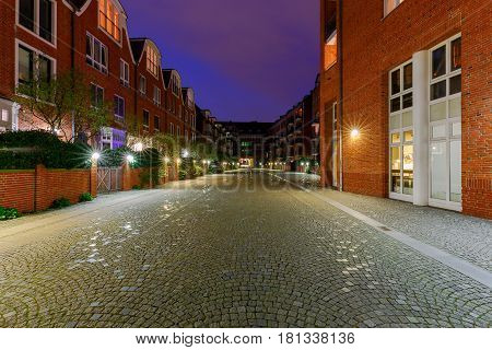 A view of the Schliachte embankment and buildings in the night illumination. Bremen. Germany.