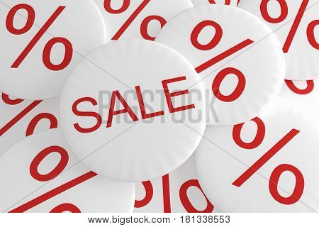 Shop Bargain Special Offer Badges: Pile of Percent Buttons With Sale Button 3d illustration