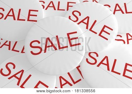 Shop Bargain Special Offer Badges: Pile of Sale Buttons 3d illustration