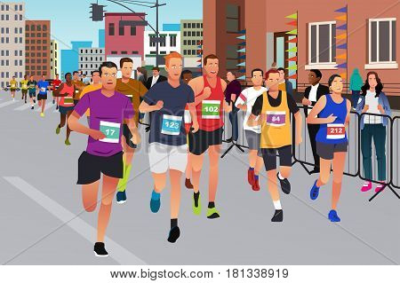 A vector illustration of Runners Running in a Marathon Competition