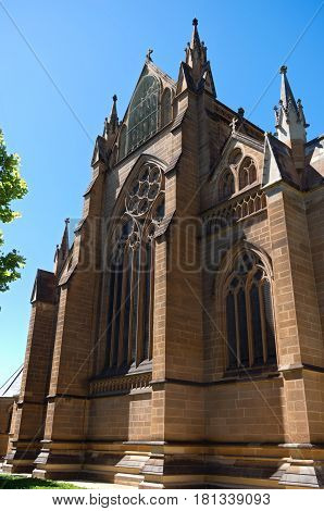 landmark cathedral exterior of victorian gothic architectural style in sydney of new south wales australia