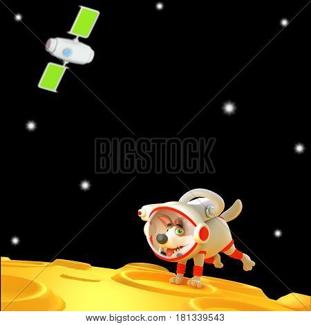 Cartoon dog astronaut. Funny cool fur character. Cute science fiction 3D illustration.