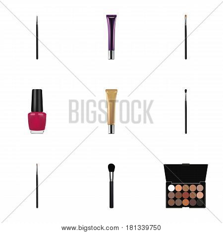 Realistic Varnish, Collagen Tube, Beauty Accessory And Other Vector Elements. Set Of Maquillage Realistic Symbols Also Includes Stick, Polish, Eye Objects.