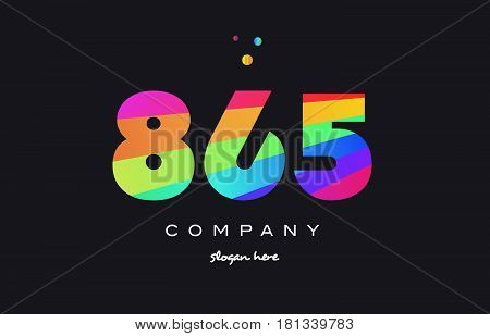 865 Colored Rainbow Creative Number Digit Numeral Logo Icon