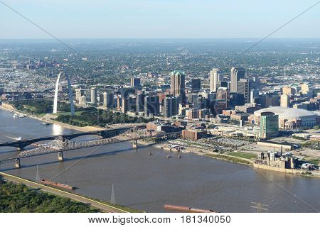 Aerial view of Saint Louis Missouri, USA showing the arch and downtown