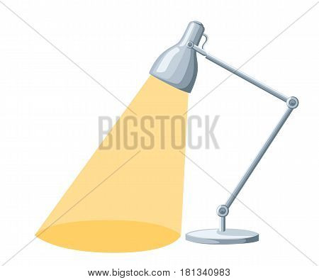 Flat Cartoon Lamp Light Isolated.the Flow Of Light Table Lamp Icon, Desk Modern Vector Illustration