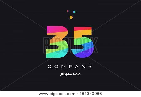35 Thirty Five Colored Rainbow Creative Number Digit Numeral Logo Icon