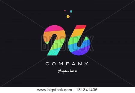 96 Ninety Six Colored Rainbow Creative Number Digit Numeral Logo Icon