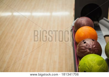 Colored bowling balls. Games and entertainment with friends. Sports equipment. Play bowling.  Bowling balls concept
