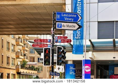 Montreux Switzerland - August 27 2016: Street indicators in Montreux city center Vaud canton Switzerland