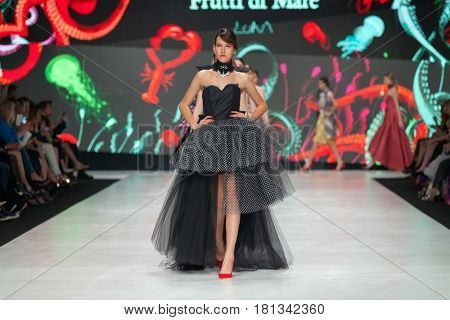 ZAGREB, CROATIA - APRIL 1, 2017: Fashion models wearing clothes designed by Luka Grubisic from the spring/summer collection at the 'Fashion.hr' fashion show