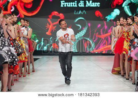 ZAGREB, CROATIA - APRIL 1, 2017: Fashion designer Luka Grubisic at the 'Fashion.hr' fashion show