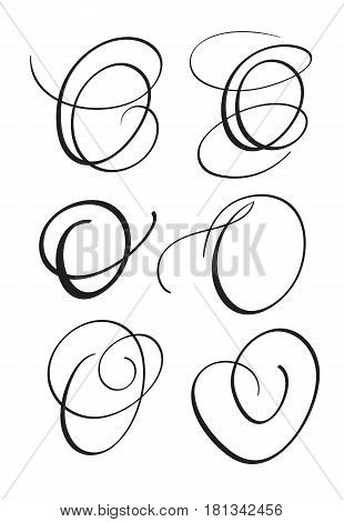 set of art calligraphy letter O with flourish of vintage decorative whorls. Vector illustration EPS10.