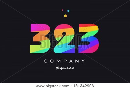 323 Colored Rainbow Creative Number Digit Numeral Logo Icon