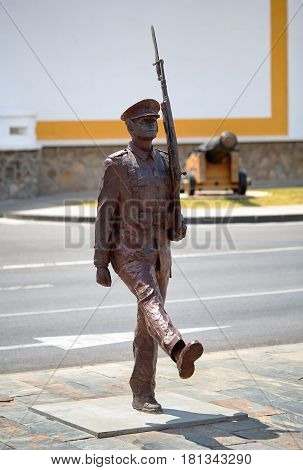 Cartagena, Spain - July 13, 2016: Monument to the spanish marine infantry at the Plaza del Rey in Cartagena, Spain