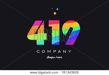419 Colored Rainbow Creative Number Digit Numeral Logo Icon