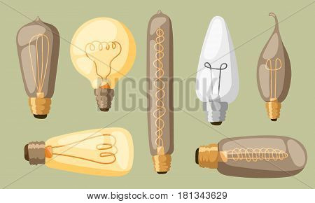 Cartoon lamps electric and bright cartoon interior lamps flat vector. Cartoon lamps light bulb electricity design flat vector illustration isolated.
