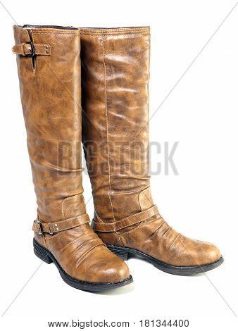 female mass production high boot on a white background