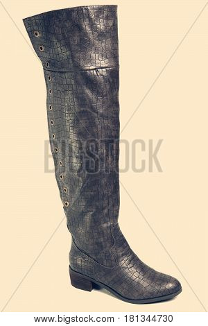 high women old fashioned design mass production high boots with a retro effect