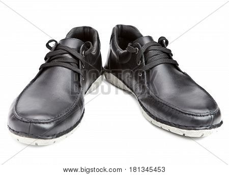 Men's boots .Still-life on a white background