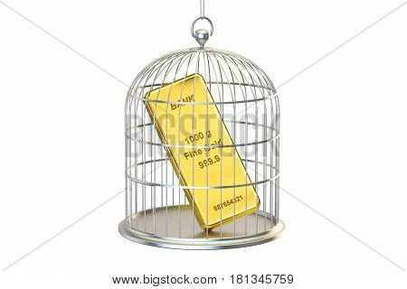 Birdcage with golden bar inside 3D rendering isolated on white background