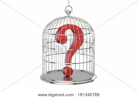 Birdcage with question mark inside 3D rendering isolated on white background