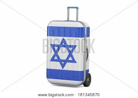 Israel travel concept suitcase with Israeli flag. 3D rendering
