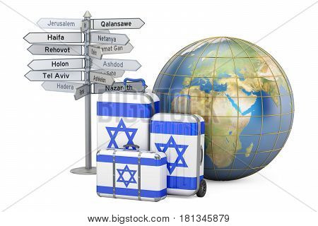 Israel travel concept. Suitcases with Israeli flag signpost and Earth globe. 3D rendering