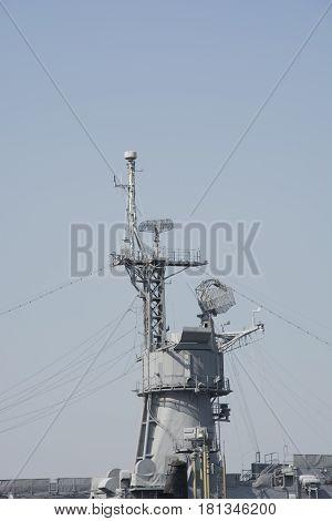 Battle ship communication center. Ship radar.  Contact center