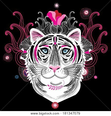 Vector portrait of a fantastic tiger on a dark background