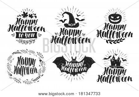 Halloween, label set. Holiday symbol or logo. Handwritten lettering, vector illustration isolated on white background