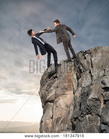 Boss launches his employee from the peak of the mountain