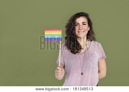 Caucasian Lady Holding LGBT Flag Concept