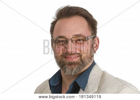 Attractive young man with glasses and piercing - on white background