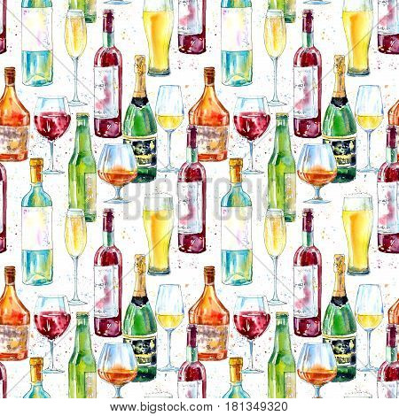Seamless pattern of a champagne,cognac, wine, beer and glass. Painting of a alcohol drink . Watercolor hand drawn illustration.White background.