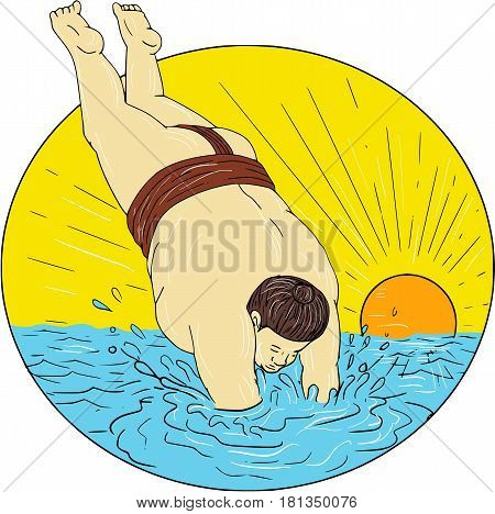 Drawing sketch style illustration of a Japanese sumo wrestler diving into water sea set inside circle with sunset in the background.