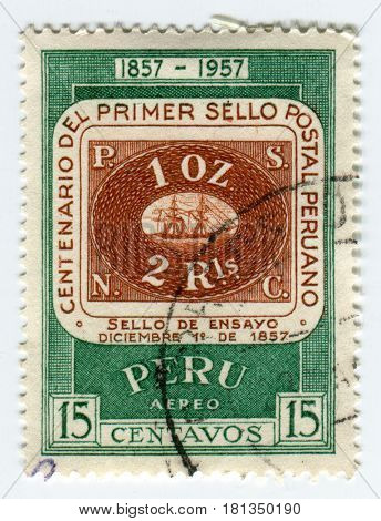 GOMEL, BELARUS, APRIL 3, 2017. Stamp printed in Peru shows image of  The Dedication to the first postage stamp of Peru, circa 1957.