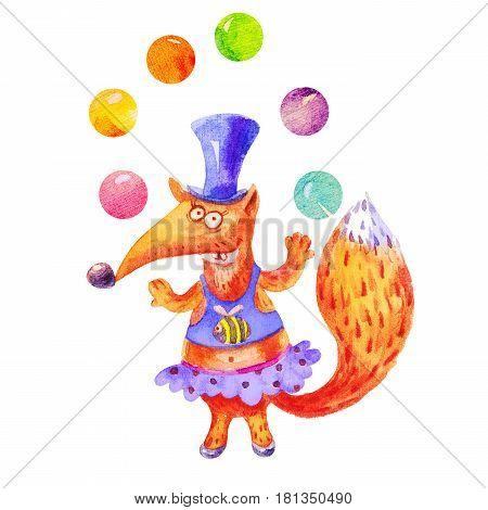 Cartoon watercolor Funny fox in a hat juggles with balls illustration isolated on white background. Children's style holiday birthday vintage design.