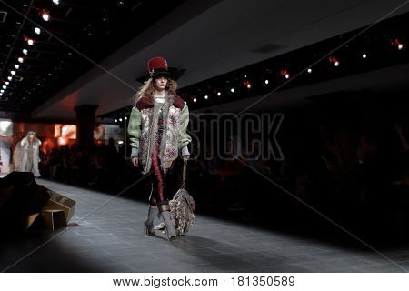 ST. PETERSBURG, RUSSIA - APRIL 1, 2017: Collection of Igor Gulyaev at the fashion show during Mercedes-Benz Fashion Day St. Petersburg. It is one of the most popular fashion events of the city