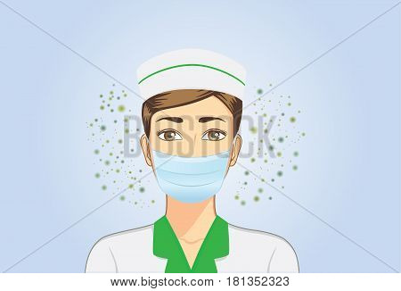 Nurse wearing breath mask for protect dust particles and bacteria pass into nose when she working.
