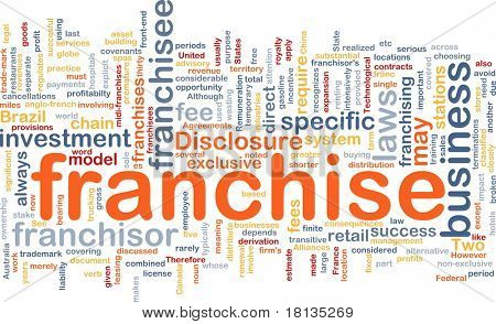 Background concept wordcloud illustration of franchise