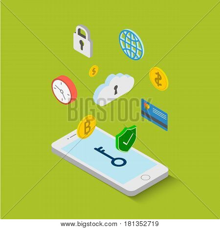 Data guard system on smartphone with graphs in isometric flat design style on colored background vector illustration