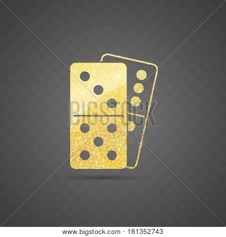 Isolated golden glitter domino icon on transparent dark background vector illustration. Logo perfect for casino and other gambling games