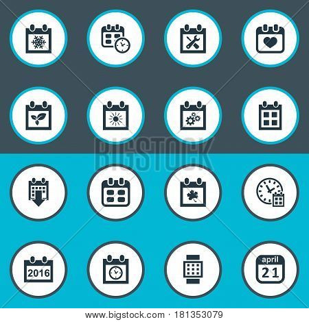 Vector Illustration Set Of Simple Time Icons. Elements History, Planner, Renovation Tools And Other Synonyms Repair, History And Event.