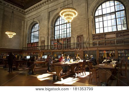 NEW YORK, USA - MARCH 24, 2017: Student into the national public library in New york city with nearly 53 million items, the NY Public Library is the second largest public library in the United States